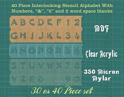 40 STRIPED 75mm Interlocking Alphabet Stencil inc £-&-spacers & Numbers ISA003