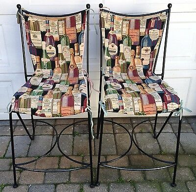 Pair of Wrought Iron & Rattan Counter Stools/Chairs + custom made chair aprons
