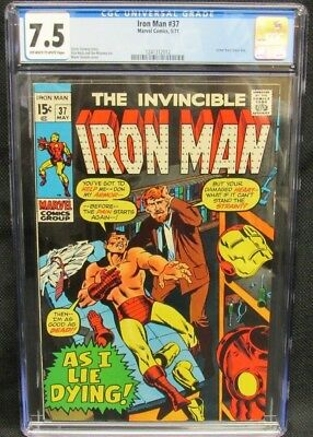 Iron Man #37 (1971) As I Lie Dying CGC 7.5 Off-White to White Pages K532