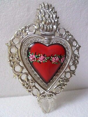 Mexican Folk Art Colonial Silver Nickle Milagro Heart Ornament Ex Voto 7x5