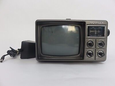 "Vintage Bentley Car Deluxe Portable 5"" Black & White TV Television Battery Power"