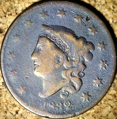 1832 Coronet Head Large Cent - VERY GOOD, LG LETTERS ROT REV Cleaned? (G500)