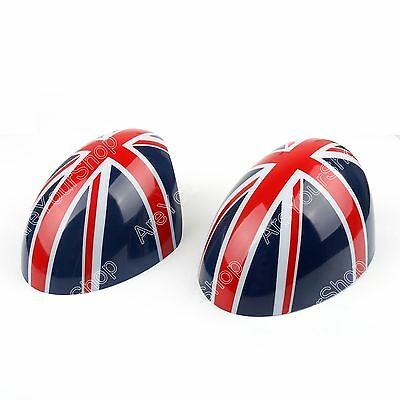 2x Union Jack WING Mirror Covers For MINI Cooper R55 R56 R57 Power Fold Mirror..