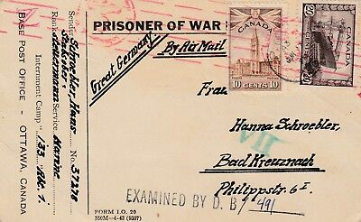 Canada to Germany POW post card 30c War issue censored Camp 133 Lethbridge Alta