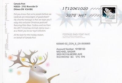 Canada Post postage paid promo card Xmas 2017 domestic/Eng