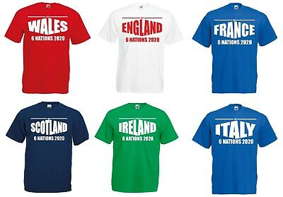 6 Nations 2019 Rugby T-Shirt Mens Ladies England Ireland Scotland Wales France