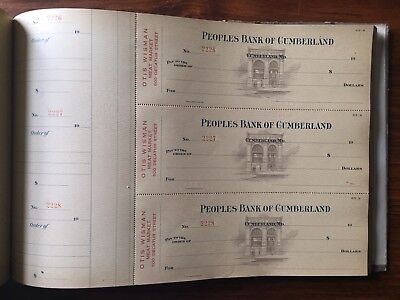 1929 Peoples Bank Of Cumberland Md Maryland  New Checks Wisman Meat Market