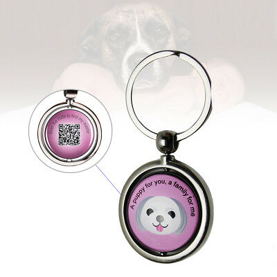 Round Stainless Steel Pet Dog Anti Lost Chain with QR Code ID Tag Small Useful