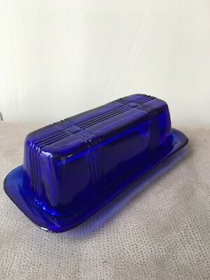 Vintage Cobalt Blue Glass Criss Cross Butter Dish - 6 1/2""