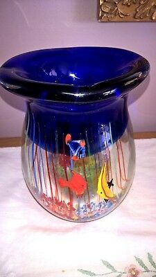 Vintage Murano FISH AQUARIUM 6 inch VASE,  Cobalt with Bright Detailed