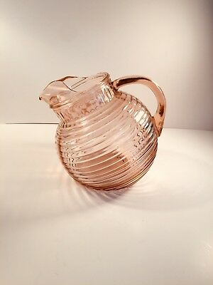 Pretty Pink Depression glassAnchor Hocking Manhattan Tilt Large Pitcher Art Deco
