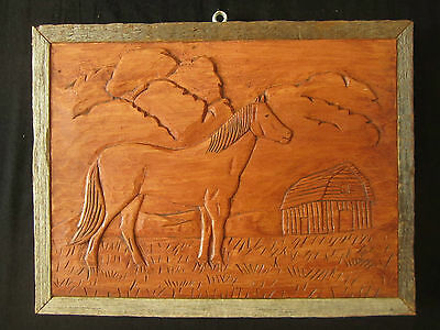 Folk Art Wood Carving of Horse and Barn in Aged Barnboard Frame Equestrian