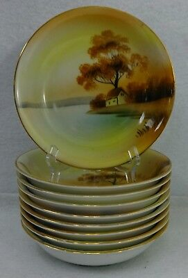 """NORITAKE china TREE IN THE MEADOW pattern Set of 8 Fruit or Berry Bowls - 5-1/4"""""""
