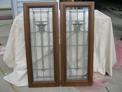 2 Matched Stained Bookcase Glass Cabinet Doors from Milwaukee Bungalow 1920's