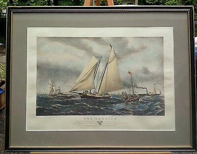 The America Yacht After Oswald Walters Brierly 1817-1894 Colored Engraving