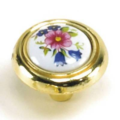 Polished Brass with White Flowers Porcelain Center Cabinet Knob (2 per pack)