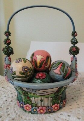 Jim Shore ~ Blossoms of Spring 4009235 ~ Easter Basket with 7 Eggs ~ 2007