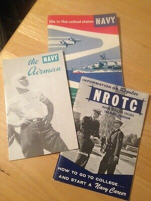 Vintage 1950-60s US Navy NROTC Navy Airman Recruiting Booklets Set Of 3 EUC!