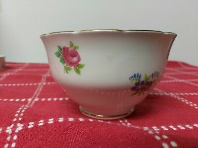 Crown Staffordshire FLORAL BOUQUET Bone China Small Sugar Bowl England Flowers