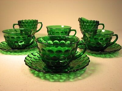 Anchor Hocking Green Bubble Glass 10PC Set vintage cups saucers cream and sugar