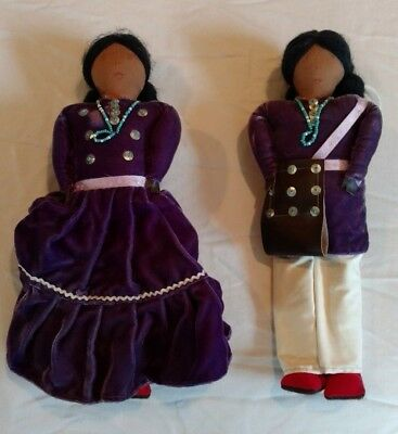 (2) Handmade Navajo Native American Indian  Boy And Girl Dolls