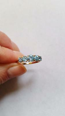Estate 10K Solid Yellow Gold 5 Stone Natural Blue Topaz Ring Size 8.75