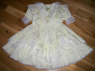 Vintage Lilo Lace Ruffles Yellow Fancy Frilly Party Dress Sz 6X Girls Lilo