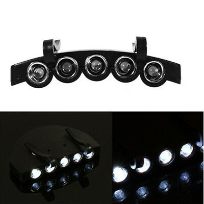 Outdoor Clip On 5 LED Head Cap Light Head Lamp Torch Fishing Camp Hunting