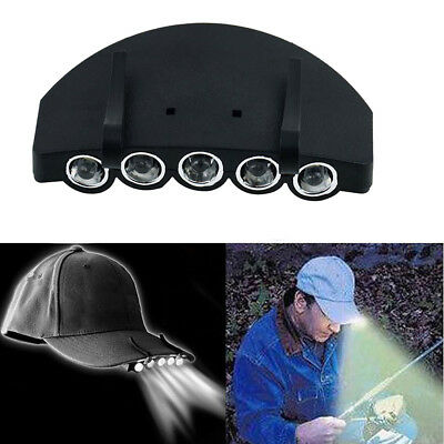New Outdoor Clip On 5 LED Head Cap Light Head Lamp Torch Fishing Camp Hunting