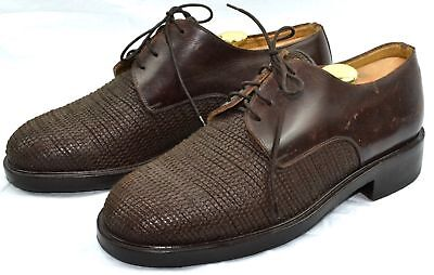 GIORGIO ARMANI BLACK LABEL Mens Hand Made Italy Luxury Woven Leather Shoes 9 US