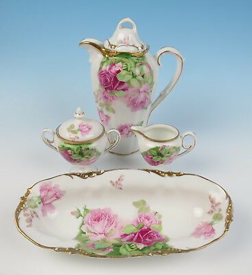 Antique Schlegelmilch E.S Prov Saxe PINK ROSES Coffee Set +Bowl R.S Prussia Suhl