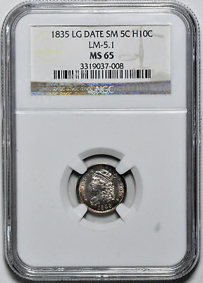 1835 Capped Bust H10C Ngc Ms 65