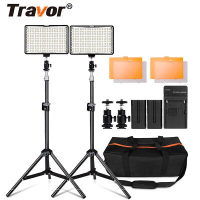 2 x Video LED Light Studioset Videoleuchte Lichtstativ kits für Kamera Camcorder