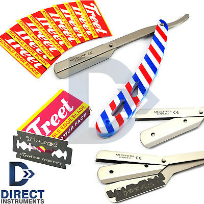 American Flag Cut-Out Barber Hair Shaving Razor Straight Folding Knife + Blades