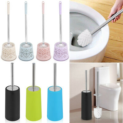 Home Stainless Steel Toilet Brush Holder Cleaning Brush Standing Bathroom Set