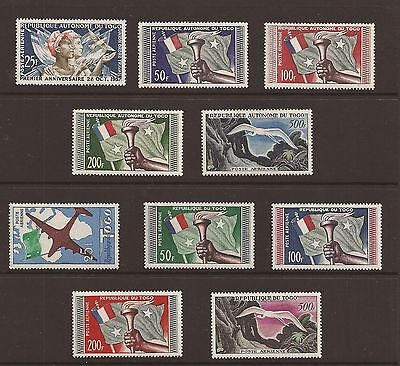 Togo 1957 Airmails and 1959 colour change set. Lightly mounted mint