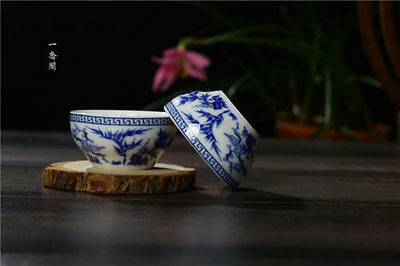 2 Pcs Chinese Blue and white Porcelain painted cypress Gongfu Sample Tea cups