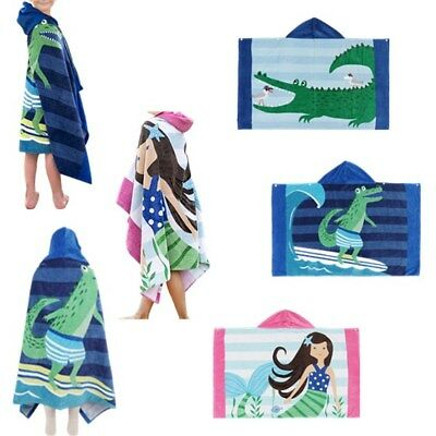 Cotton Hooded Bath Towel Pool Beach Wearable Bathrobe for Kids Baby Toddlers