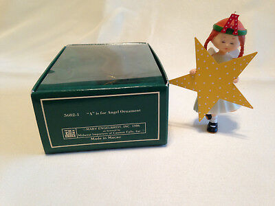 """VINTAGE 1986 MIDWEST MARY ENGELBREIT PAGEANT ORNAMENT """"A"""" ANGEL with Box"""