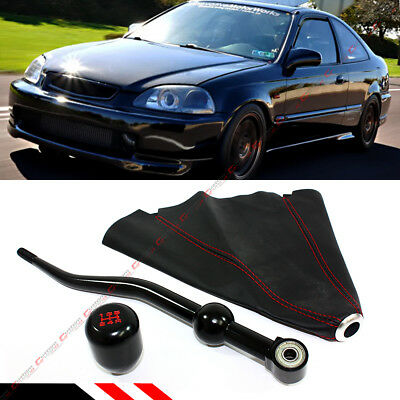 For 1988-00 Honda Civic Dual Short Shifter+ Blk Type-R Shift Knob + Leather Boot