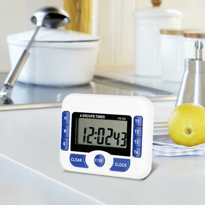 Digital 4-Channel Independent Group Timer Countdown Magnetic Kitchen Cook Clock