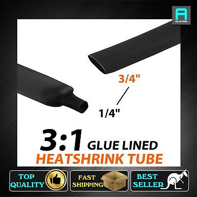 Black 19.1mm Heat Shrink Tube Tubing Glue Adhesive Line Dual Wall 3:1 Cable Wrap