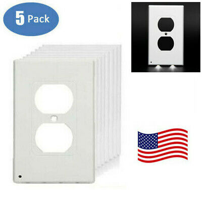5-PACK Wall Outlet Cover Plate Plug With 2 LED Night Lights Ambient Light Sensor