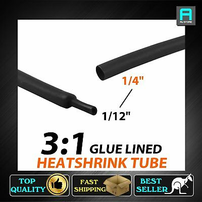 Dual Wall Glue Lined Heat Shrink Tube Tubing 6.4mm Dust Water Proof 1.2M Black