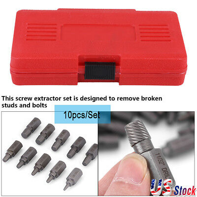 10in 1 Screw Extractor Drill Bits Guide Set Broken Damaged Bolt Remover Easy Out