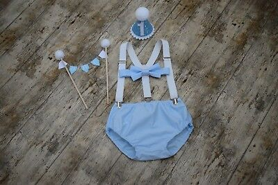 Boys Cake Smash Outfit 1st Birthday Party Outfit Baby Blue And White