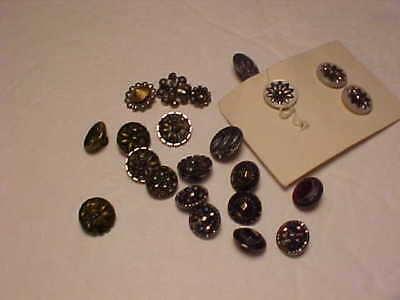 Fabulous Lot of 23 Antique Metal BUTTONS Victorian Cut Steel Flowers Plus