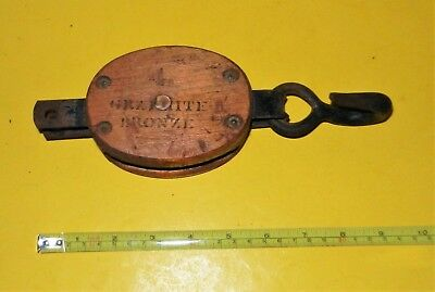 "Antique Vintage 4"" Wooden Granite Bronze Pulley Nautical STAR Block Tackle Farm"