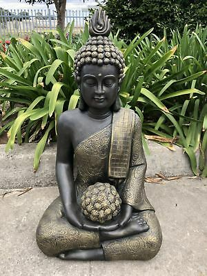 80cm Sitting Buddha with Flower Ball Garden Statue home decor Fengshui Asian