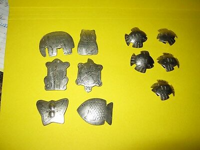 1 LOT of 2 sets of METAL Button Covers- Set of 6 Animals / set of 5 fish